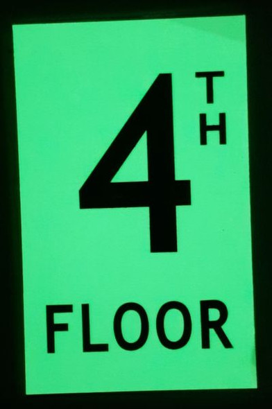 FLOOR NUMBER Signage -TH FLOOR Signage - PHOTOLUMINESCENT GLOW IN THE DARK Signage