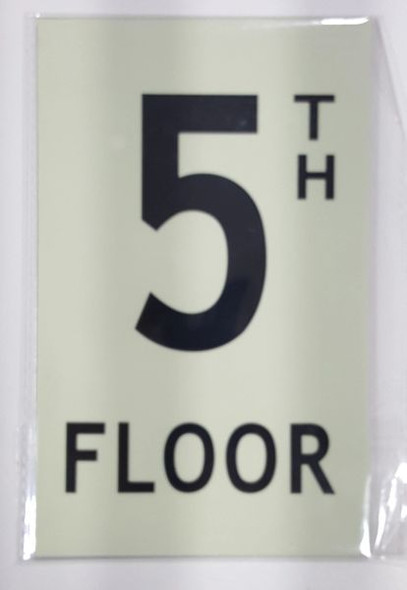 FLOOR NUMBER Sign - 5TH FLOOR Sign - PHOTOLUMINESCENT GLOW IN THE DARK Sign