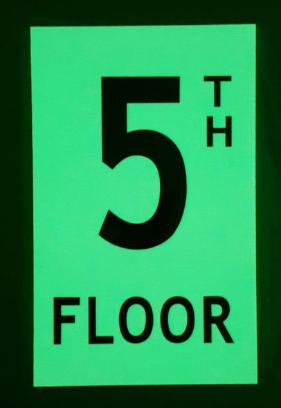 FLOOR NUMBER Signage - 5TH FLOOR Signage - PHOTOLUMINESCENT GLOW IN THE DARK Signage