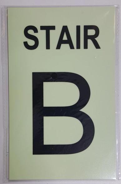 PHOTOLUMINESCENT STAIR B SIGN