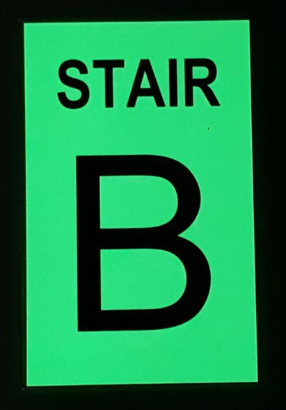 PHOTOLUMINESCENT STAIR B SIGN for Building