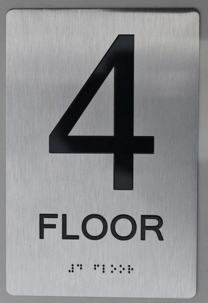 4th FLOOR  Braille sign -Tactile Signs  The sensation line ADA   Braille sign