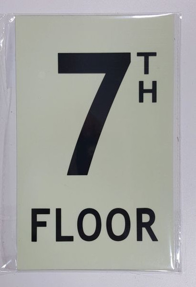 FLOOR NUMBER Sign - 7TH FLOOR Sign - PHOTOLUMINESCENT GLOW IN THE DARK Sign