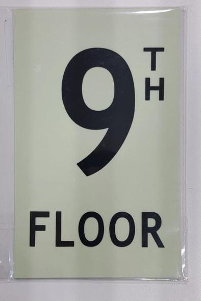 FLOOR NUMBER Sign - 9TH FLOOR Sign - PHOTOLUMINESCENT GLOW IN THE DARK Sign