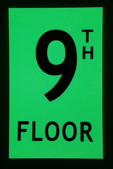 FLOOR NUMBER Signage - 9TH FLOOR Signage - PHOTOLUMINESCENT GLOW IN THE DARK Signage