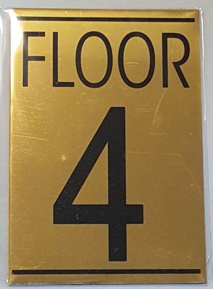 FLOOR NUMBER FOUR (4) HPD SIGN