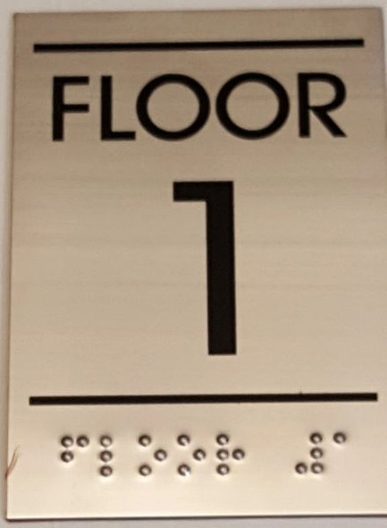 FLOOR NUMBER ONE (1) Sign -Tactile Signs   Ada sign