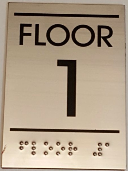 FLOOR NUMBER ONE (1) Sign -Tactile Signs    Braille sign