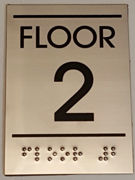 FLOOR NUMBER TWO (2) Sign -Tactile Signs    Braille sign