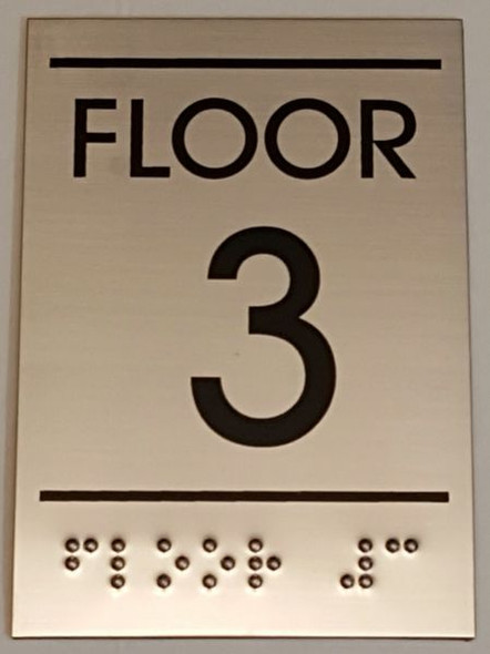 FLOOR NUMBER THREE (3) Sign -Tactile Signs   Ada sign
