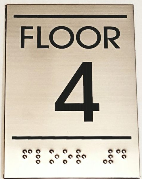 FLOOR NUMBER FOUR (4) Sign -Tactile Signs  Ada sign