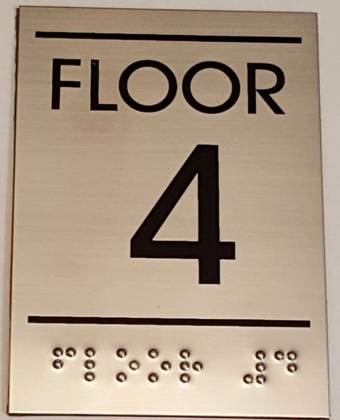 FLOOR NUMBER FOUR (4) Sign -Tactile Signs   Braille sign
