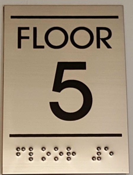 FLOOR NUMBER FIVE (5) Sign -Tactile Signs   Ada sign