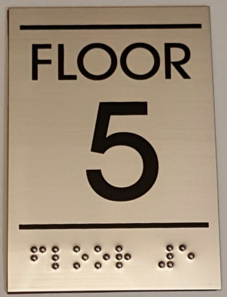 FLOOR NUMBER FIVE (5) Sign -Tactile Signs    Braille sign