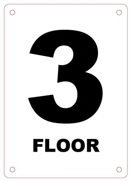 FLOOR NUMBER THREE (3) Sign