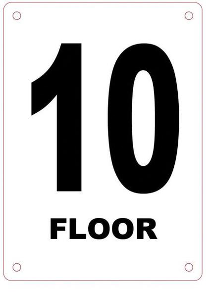 FLOOR NUMBER TEN (10) SIGN
