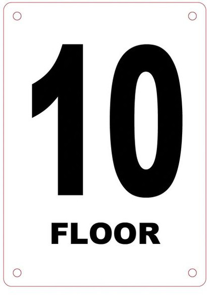 FLOOR NUMBER TEN (10) Sign