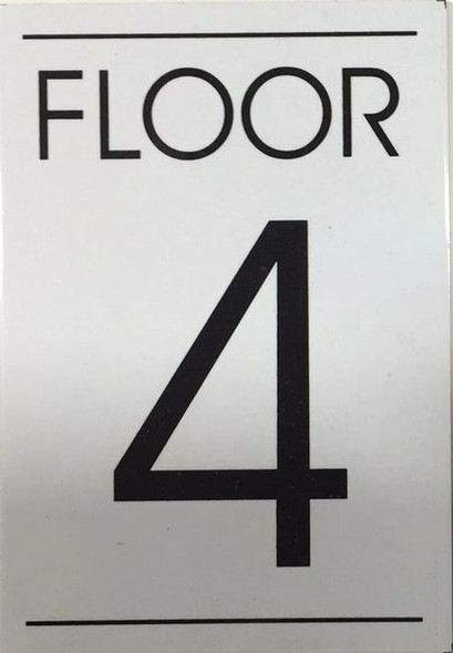 FLOOR NUMBER FOUR (4) Signage