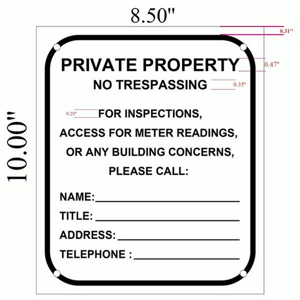 Building Access contact Sign for Building