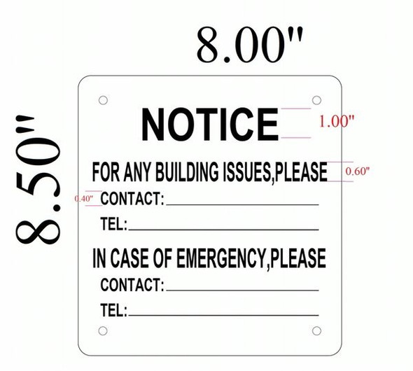 EMERGENCY CONTACT SIGN for Building