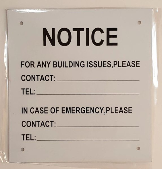 NOTICE OF BUILDING ISSUES SIGN for Building