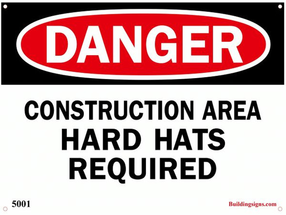 Danger Construction Area Hard Hats required SIGN