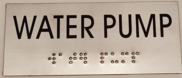 WATER PUMP Sign -Tactile Signs   Ada sign
