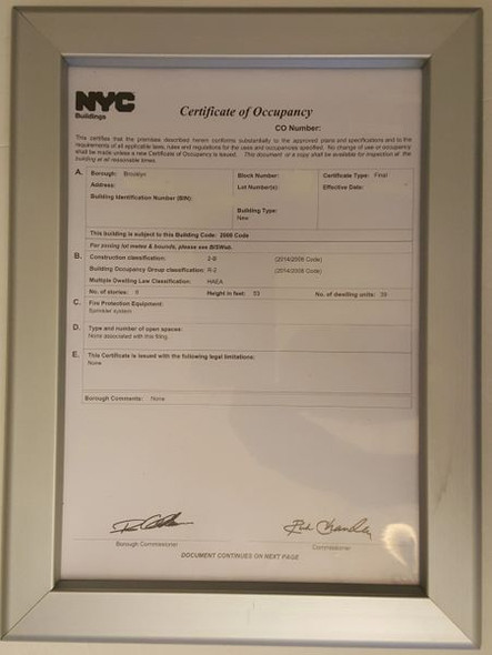 CERTIFICATE OF OCCUPANCY Dob FRAME