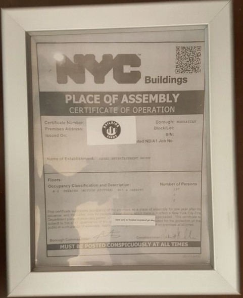 NYC PLACE OF ASSEMBLY CERTIFICATE OF OPERATION FRAME for Building