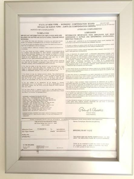 Worker's Compensation Notice Frame for Building