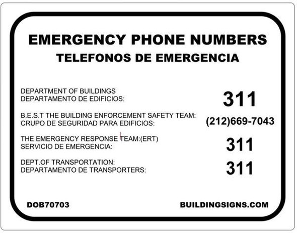 EMERGENCY PHONE NUMBERS - DOB ALUMINUM Sign