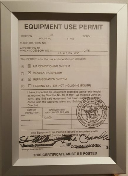 Equipment Use Permit Certificate visits frame NYC (HEAVY DUTY) (PERMIT FRAMES )