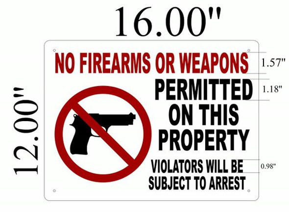 NO FIREARMS OR WEAPONS Signage- ALUMINUM