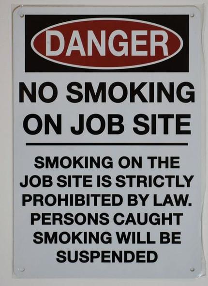 DANGER NO SMOKING ON JOB SITE Signage