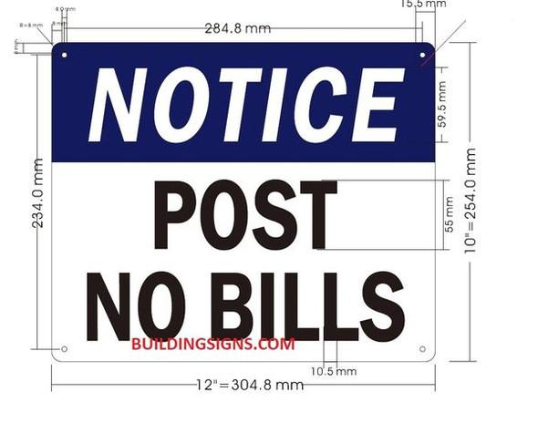 NOTICE POST NO BILLS SIGN for Building