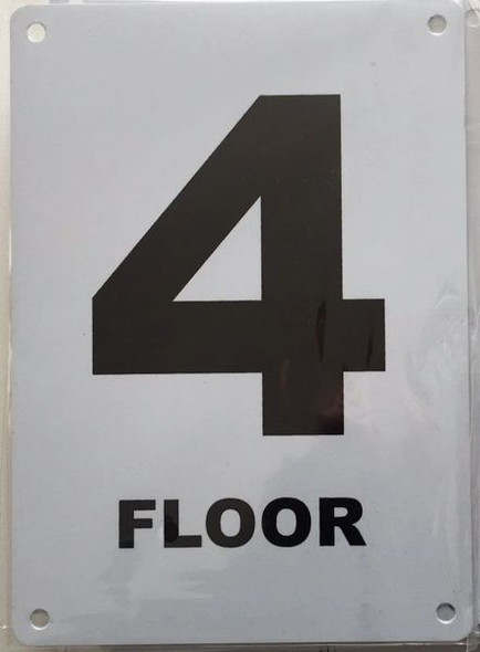 FLOOR NUMBER FOUR (4) Signage ALUMINUM (HMC § 27-2049)
