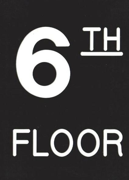 Floor number Six (6) Sign Engraved Plastic (FLOOR Sign.)