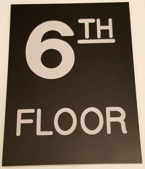 Floor number Six (6) Signage Engraved Plastic (FLOOR Signage.)