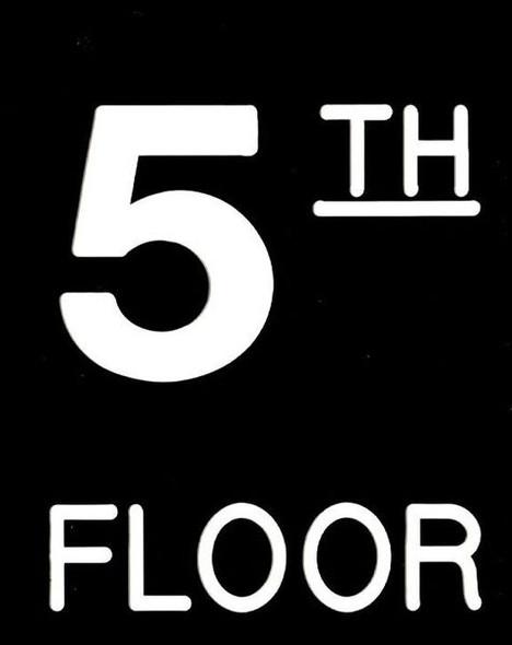 Floor number Five (5) Sign Engraved Plastic (FLOOR Sign.)