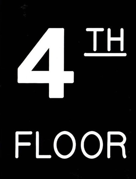Floor number Four (4) sign