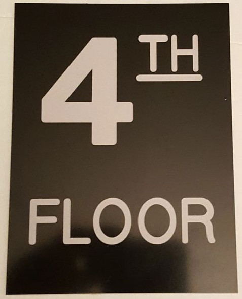 Floor number Four (4) Signage Engraved Plastic (FLOOR Signage.)