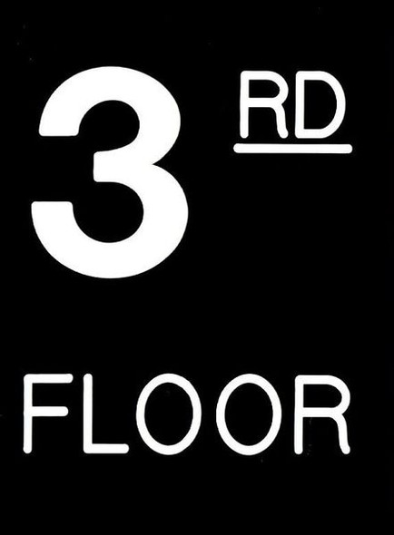 Floor number Three (3) Sign Engraved Plastic (FLOOR Sign.)