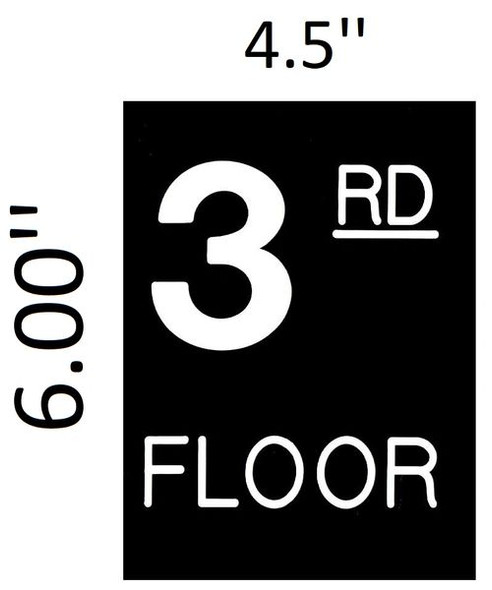Floor number Three (3) sign for Building