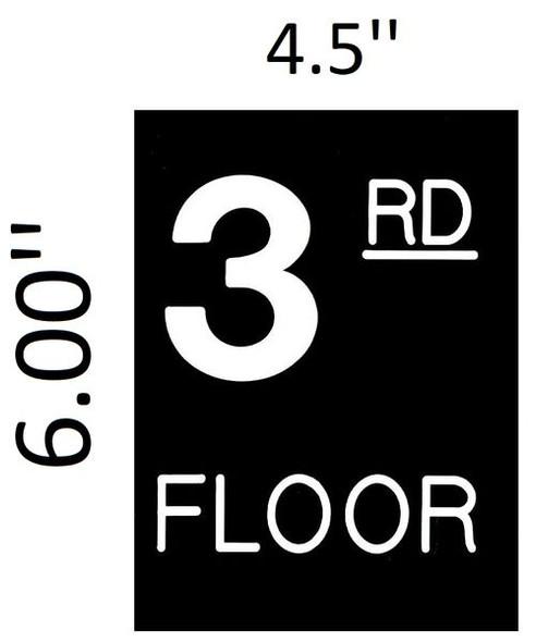 Floor number Three (3) Signage Engraved Plastic (FLOOR Signage.)