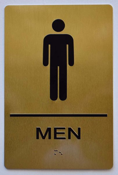 MEN RESTROOM Sign -Tactile Signs Tactile Signs  BRAILLE-  (ALUMINUM SIGNS)  Braille sign