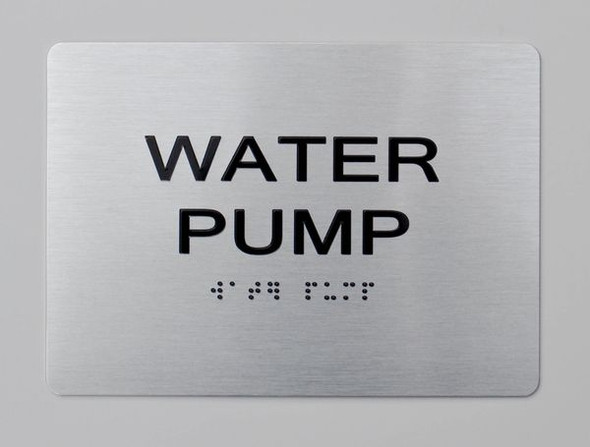 WATER PUMP Sign Brush Silver