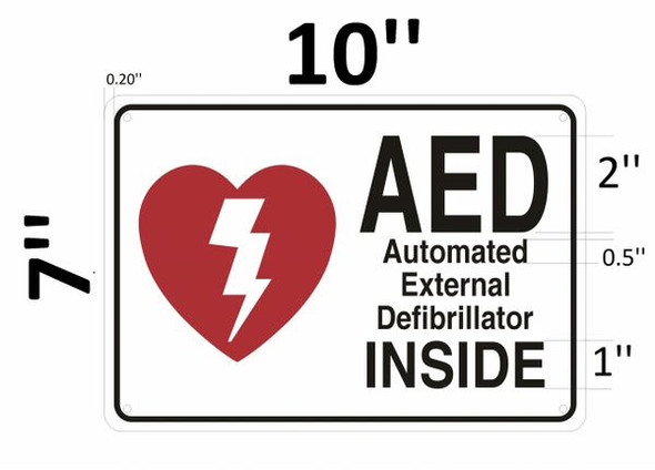 AED INSIDE SIGN- AUTOMATED DEFIBRILLATOR INSIDE SIGN for Building