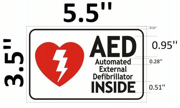 AED INSIDE SIGN- AUTOMATED EXTERNAL DEFIBRILLATOR INSIDE SIGN for Building