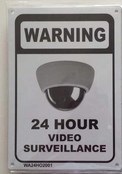 WARNING 24 HOUR VIDEO SURVEILLANCE SIGN for Building
