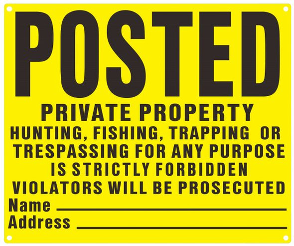 NO TRESPASSING Sign- YELLOW